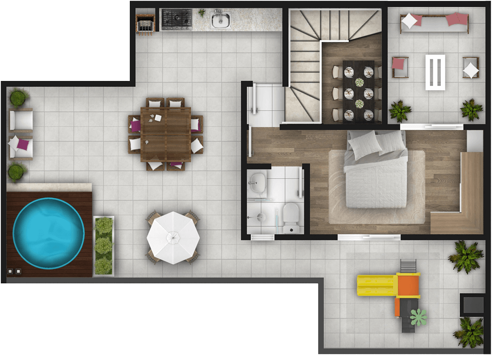 Planta Cobertura 3 Dorms 173m² Piso Superior